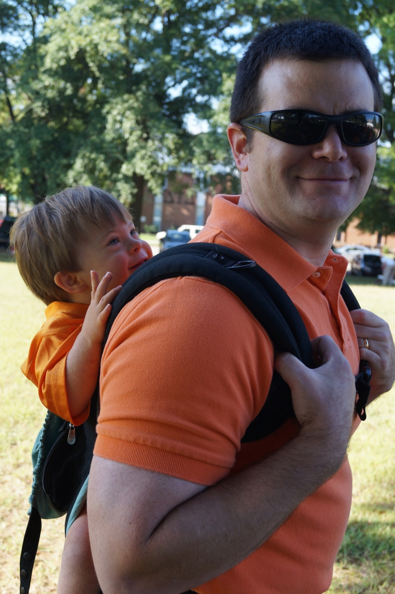 Getting a first-class ride to his first University of Tennessee football game. He loved it (and did better than the 4yo at the game).