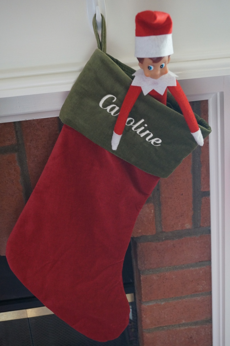 Even Elfie was thrilled to have Caroline around to celebrate Christmas with us this year. He spent a little time in her stocking on Christmas Eve before flying back to the North Pole.