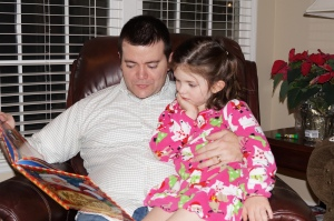 Reading Twas the Night Before Christmas with Daddy