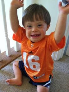 "Thomas says ""touchdown"" in his Peyton Manning jersey"