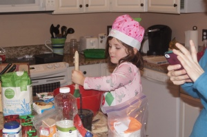 Campbell loves to help in the kitchen -- here she is making Christmas cookies
