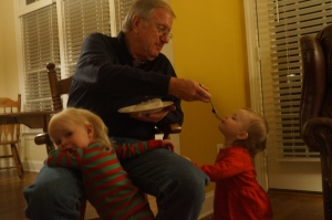 Lots of eating happened...here is Caroline eating Granddaddy's Christmas cake