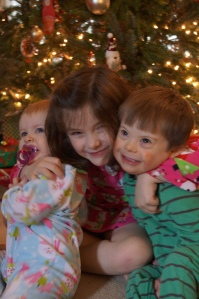 The Raphael kids on Christmas morning