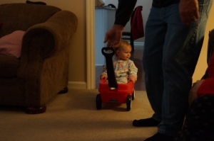 Caroline and her little wagon